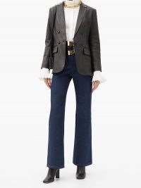 PACO RABANNE Leather-patch high-rise flared jeans ~ dark blue flares