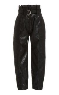 Jonathan Simkhai Leela Faux-Leather Paperbag-Waist Trousers