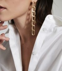 REISS LEXI BRUSHED PLATED GOLD MULTI LINK EARRINGS GOLD ~ long chain linked drops ~ effortless glamour