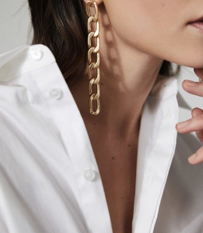 REISS LEXI BRUSHED PLATED GOLD MULTI LINK EARRINGS GOLD ~ long chain linked drops ~ effortless glamour - flipped