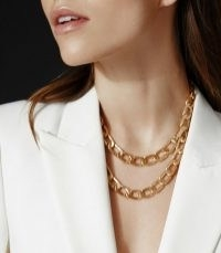 REISS LEXI GOLD PLATED DOUBLE WRAP NECKLACE GOLD ~ chain link statement necklaces