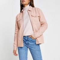 RIVER ISLAND Light pink zip front pocket shacket ~ shackets