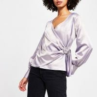 RIVER ISLAND Lilac wrap long sleeve blouse top