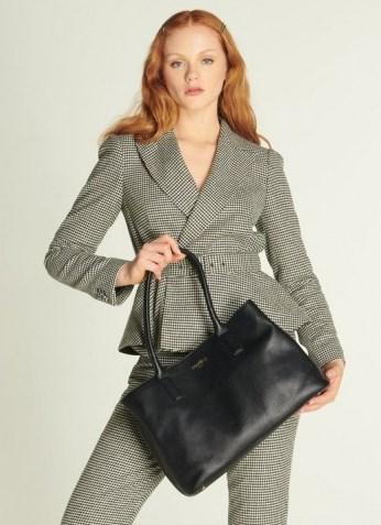 L.K. BENNETT LILIAN BLACK LEATHER TOTE BAG   chic work bags - flipped