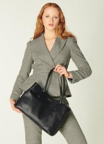 L.K. BENNETT LILIAN BLACK LEATHER TOTE BAG   chic work bags