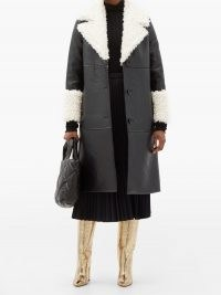 STAND STUDIO Linda faux shearling-trimmed faux leather coat ~ monochrome winter coats