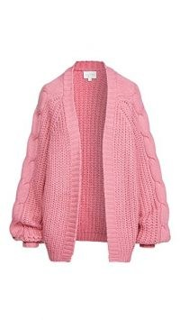 Line & Dot Bailey Cable Knit Cardigan ~ pink chunky open front cardigans