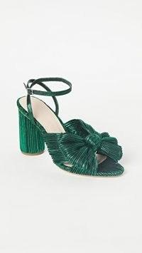 Loeffler Randall Camellia Knot Mules Emerald | green textured block heels