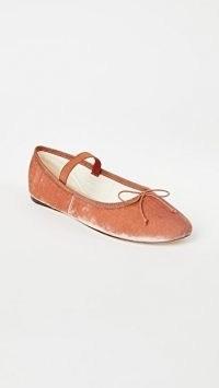 Loeffler Randall Leonie Soft Ballet Flats | Salmon velvet ballerinas