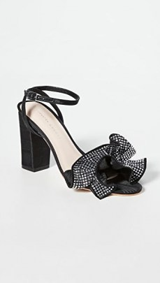 Loeffler Randall Savannah Ruffle Heel Sandals Diamante/Black | block heel party shoes - flipped