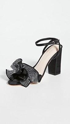 Loeffler Randall Savannah Ruffle Heel Sandals Diamante/Black | block heel party shoes