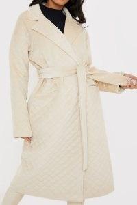 LORNA LUXE ECRU 'SERENDIPITY' QUILTED OVERSIZED TIE WAIST COAT | wrap coats