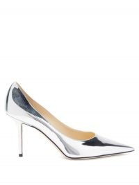 JIMMY CHOO Love 85 metallic-leather pumps ~ silver patent leather court shoes ~ shiny point toe courts