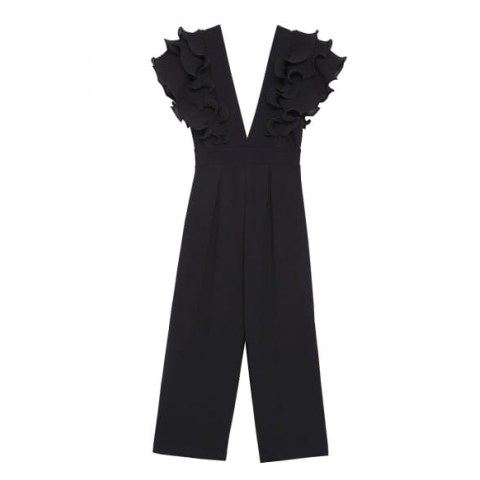 ESTHE Low-Neck Ruffled Jumpsuit ~ ruffle detail jumpsuits - flipped
