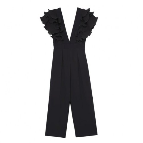 ESTHE Low-Neck Ruffled Jumpsuit ~ ruffle detail jumpsuits