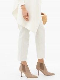 JIMMY CHOO Maiara 90 suede ankle boots ~ neutral beige stiletto heel booties