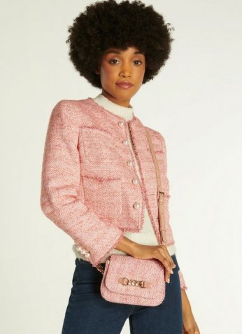 L.K. BENNETT MAIZIE PINK TWEED CROSSBODY BAG | textured flap bags - flipped