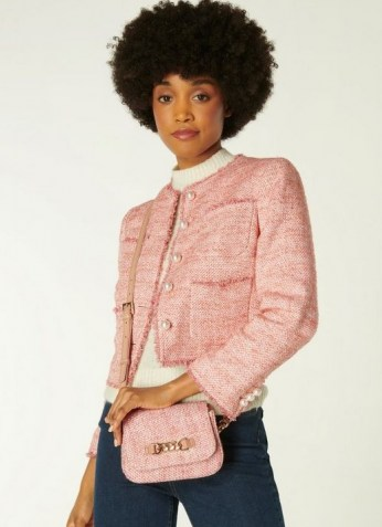 L.K. BENNETT MAIZIE PINK TWEED CROSSBODY BAG | textured flap bags