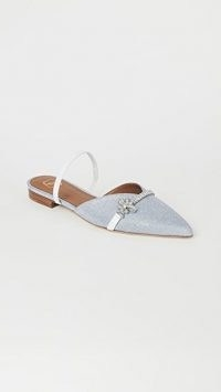 Malone Souliers Lila Flats / silver crystal-embellished point-toe flat shoes