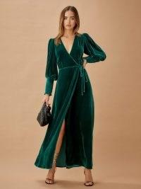 Reformation Mandi Dress in Emerald ~ green side tie maxi ~ velvet occasionwear