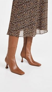 MANU Atelier Knee High Multipanel XX Duck Boots in Walnut ~ brown french heel boots