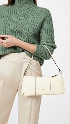 MANU Atelier Pita Bag ~ vanilla leather elongated handbag - flipped