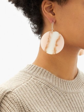 ISABEL MARANT Marbled drop earrings in pale pink ~ large circular drops ~ boho jewellery