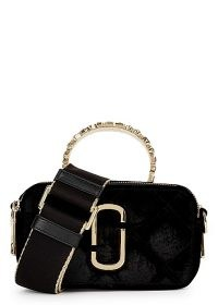 MARC JACOBS The Snapshot velvet cross-body bag / luxe crossbody bags / crystal embellished top handle