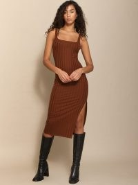 Reformation Matera Dress | brown thigh high split dresses