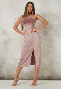 MISSGUIDED mauve feather bust slip midaxi dress ~ lingerie style going out dresses