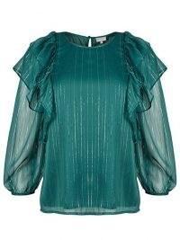 OLIVER BONAS Metallic Stripe & Frill Sleeve Green Blouse / shimmering ruffle trim blouses