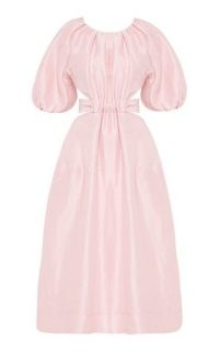 Aje Mimosa Cutout Linen-Silk Midi Dress | pink puff sleeve dresses