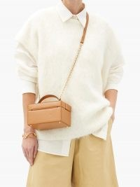MARK CROSS 1845 mini saffiano-leather box bag / tan brown crossbody bags / small top handle handbags