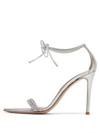 GIANVITO ROSSI Montecarlo 105 crystal-embellished leather sandals ~ metallic silver barely there heels