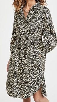 MUNTHE Salvia Dress ~ leopard print shirt dresses ~ curved hem
