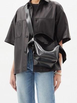 ACNE STUDIOS Musubi mini leather cross-body bag ~ chunky wide strap crossbody bags - flipped