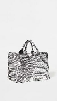 Naghedi St Barths Large Tote ~ metallic weave detail shopper