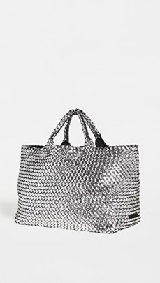 Naghedi St Barths Large Tote ~ metallic weave detail shopper - flipped