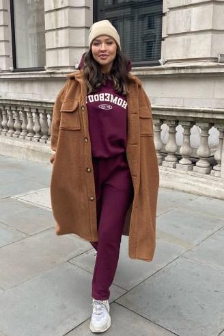 NAOMI GENES CAMEL TEDDY LONGLINE COAT | brown textured coats - flipped