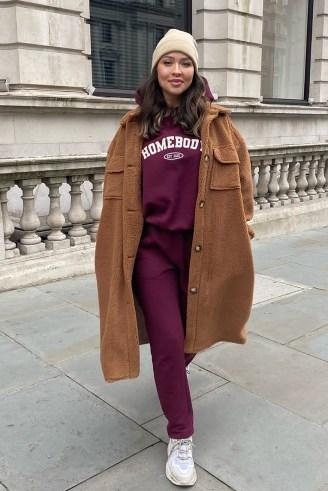 NAOMI GENES CAMEL TEDDY LONGLINE COAT | brown textured coats