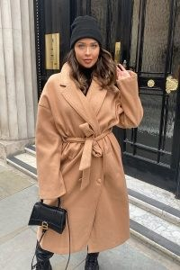 NAOMI GENES CAMEL WOOL DOUBLE BREASTED BELTED LONGLINE COAT | neutral coats