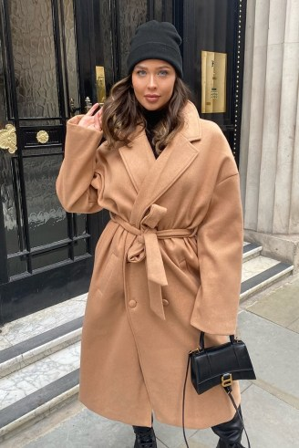 NAOMI GENES CAMEL WOOL DOUBLE BREASTED BELTED LONGLINE COAT | neutral coats - flipped