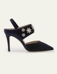 Boden Natalia Slingbacks – Navy ~ dark blue embellished high heels ~ evening slingback shoes
