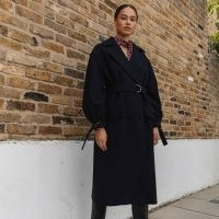 Palones Navy Puff Sleeve D Ring Coat ~ volume sleeves ~ dark blue winter coats