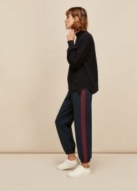 WHISTLES SLIM SIDE STRIPE JOGGER / navy striped joggers / blue cuffed jogging bottoms