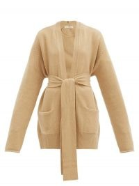EXTREME CASHMERE No.154 Care belted stretch-cashmere cardigan ~ camel tie waist cardigans