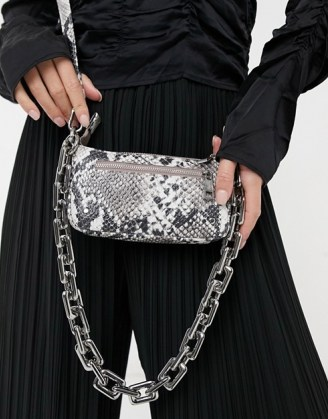 Nunoo Party leather shoulder bag with chunky chain in snake   animal print handbags - flipped