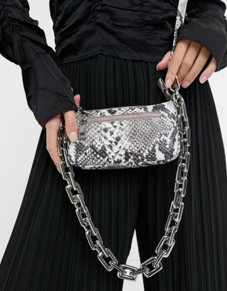 Nunoo Party leather shoulder bag with chunky chain in snake   animal print handbags