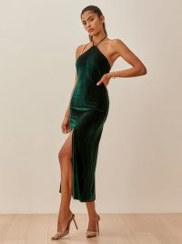 Reformation Nyla Dress / forest green velvet evening dresses ~ luxe style occasionwear