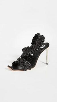 Off-White Nappa Sandals / black ruffled high heels